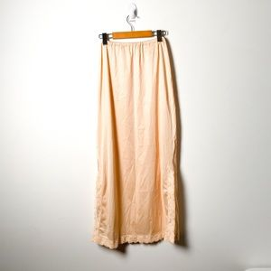 Vintage Cream Sheer Lace Silky Maxi Neglige Skirt